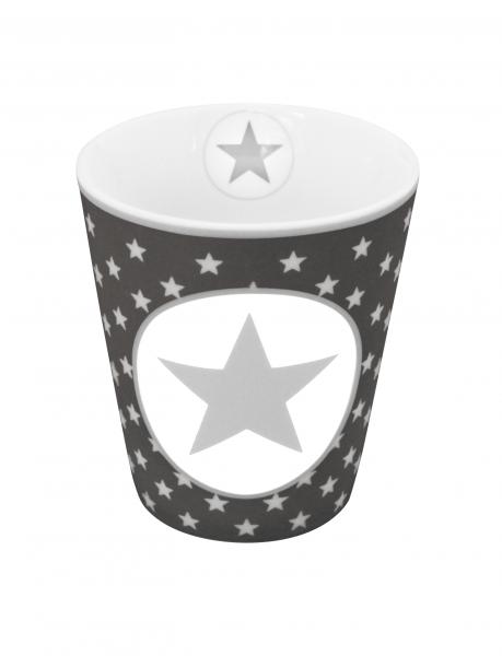 Tasse mit Sternen und großem Stern, dunkelgrau