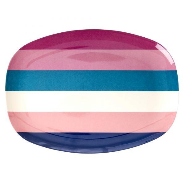 Platte mit Streifen, blau/rosa/weiß