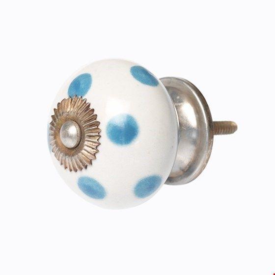 Keramikknauf Punkte hellblau