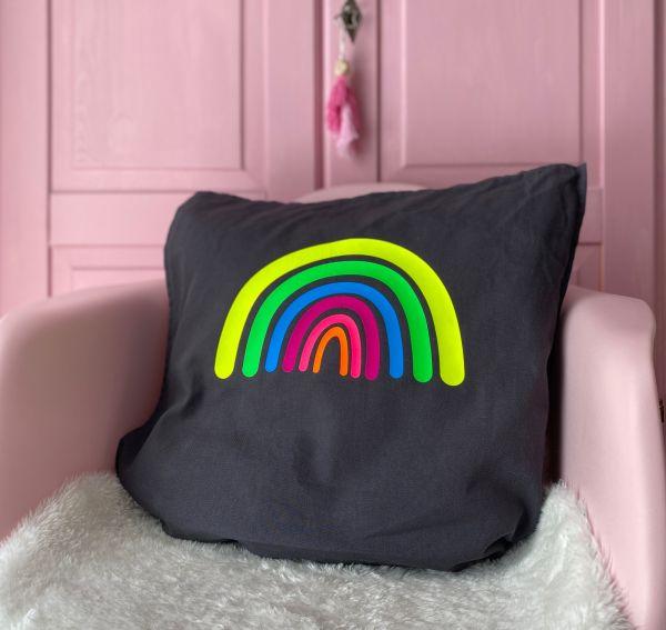 (reserviert für Andrea) Kissenhülle mit Regenbogen in Neonfarben, dunkelgrau/gelb