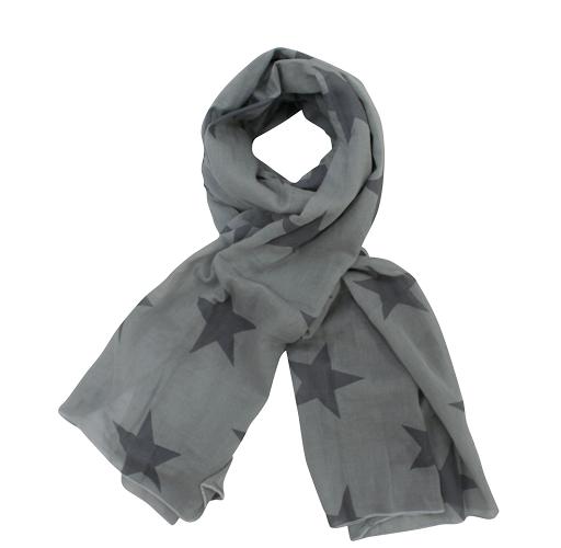 Schal, große Sterne grau/dunkelgrau