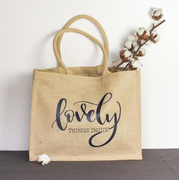 "XL-Jute-Shopper/Tasche ""Lovely Things Inside"" schwarz"
