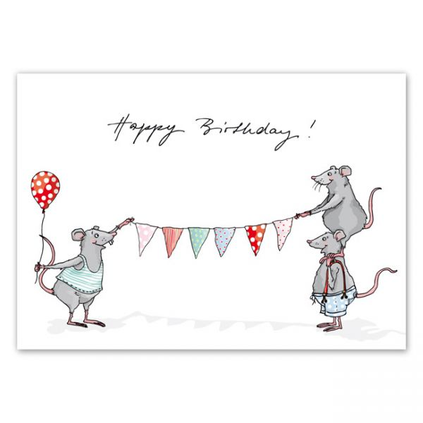 krima&isa Postkarte Wimpelmäuse/Happy Birthday