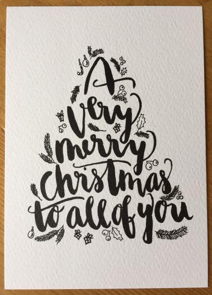 "Postkarte ""A very merry Christmas to all of you"" Baum"