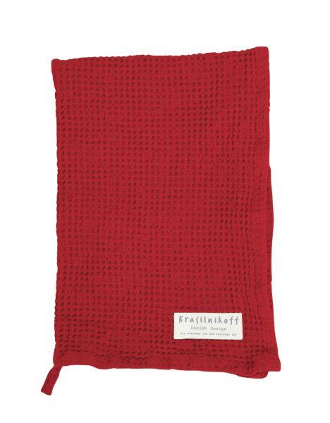 Handtuch/Geschirrtuch, Waffelstruktur, rot