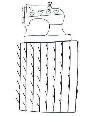 Garnrollenhalter mit Nähmaschine aus Draht