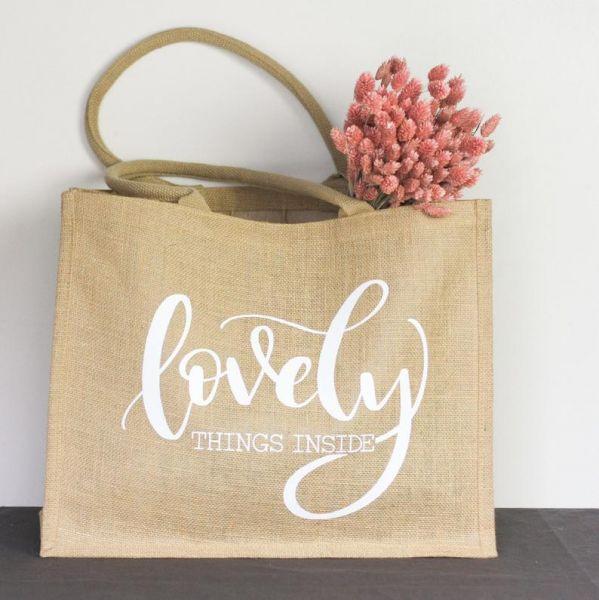 """XL-Jute-Shopper/Tasche """"Lovely Things Inside"""" weiß"""