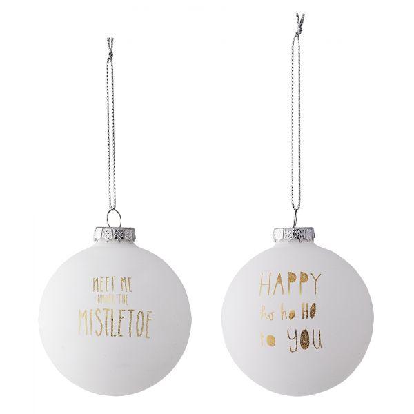 Anhänger/Weihnachtskugeln von Bloomingville aus Glas, weiß 2er-Set