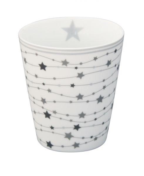 Tasse mit Sternengirlande, grau/weiß
