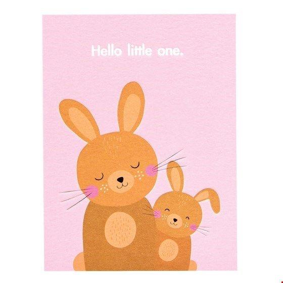"Postkarte Hasen ""Hello little one"""