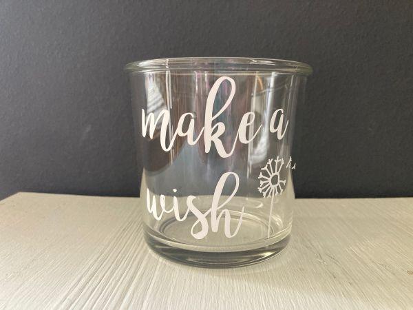 """Glas/Windlicht mit Schriftzug """"make a wish"""" Pusteblume"""