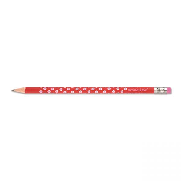 krima&isa Bleistift rot, Tupfer weiß/rosa