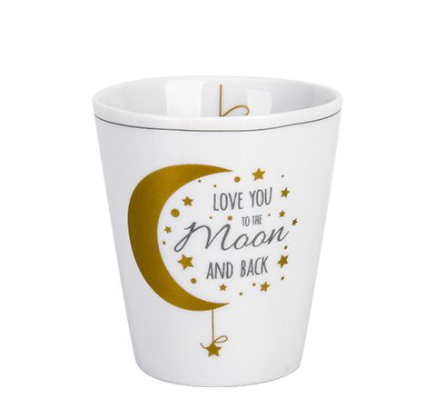 """Tasse """"love you to the moon and back"""", grau/gold"""