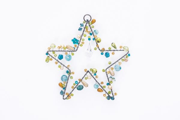 Stern mit Perlen, türkis, fünfzackig