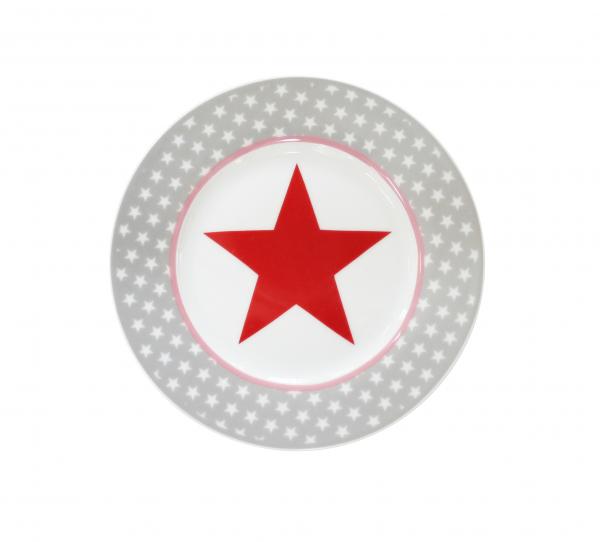 Teller mit Stern, in grau/rot