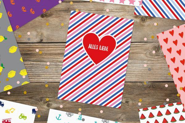"""Postkarte """"Alles Liebe"""" mit Streifen"""