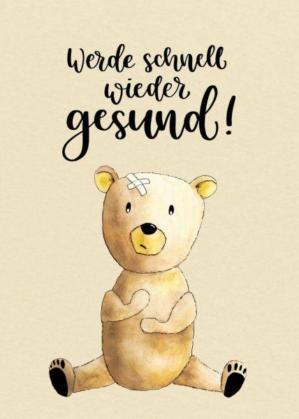 """Postkarte """"Werde schnell wieder gesund!"""" mit süßem Bär"""