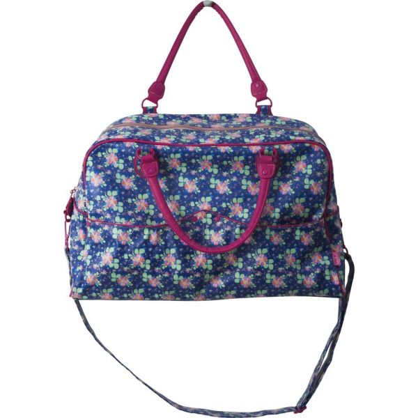 Tasche, blau mit Blumen