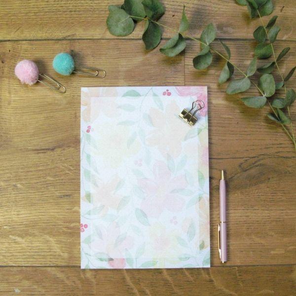 Notizblock/Briefpapier A5 – Watercolor Blumen, dotted paper (Punkteraster)