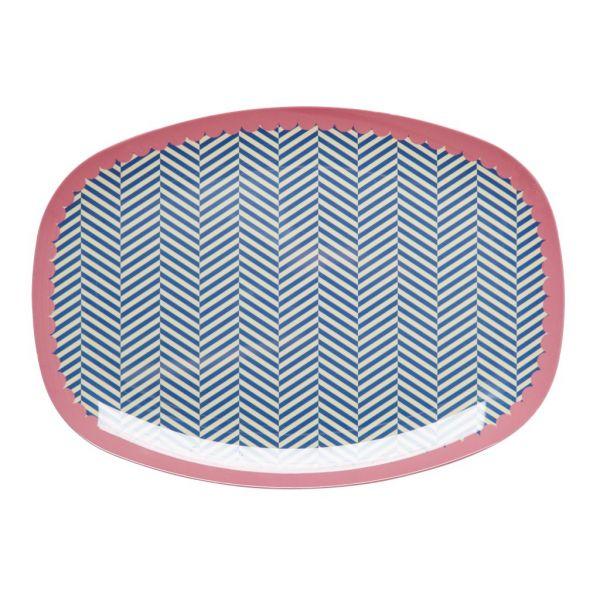 Platte mit grafischem Muster, blau/weiß