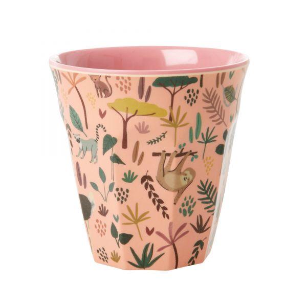 Becher Dschungel, rosa (Personalisierung möglich)