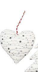 Anhänger von Krasilnikoff aus Stoff, Herz mit Sternen