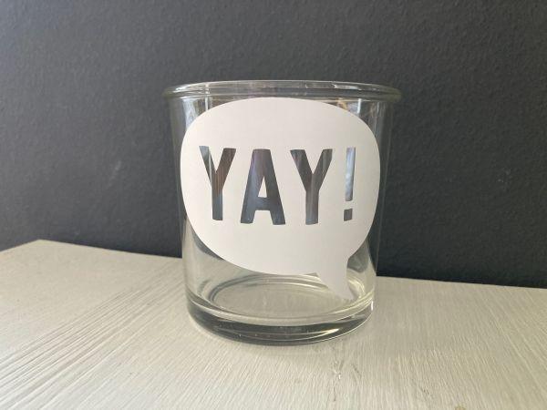 """Glas/Windlicht mit Sprechblase """"YAY"""""""