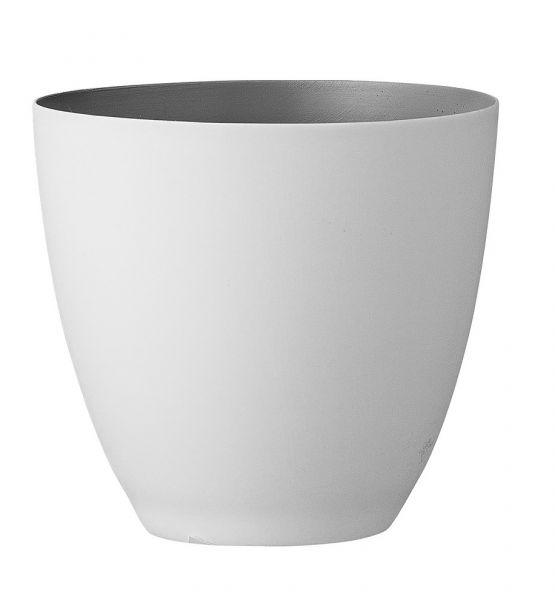 Bloomingville Windlicht aus weißem Porzellan innen grau