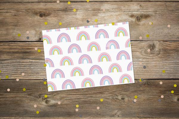 Postkarte Regenbogen bunt
