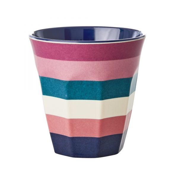 Becher mit Streifen, blau/rosa/weiß