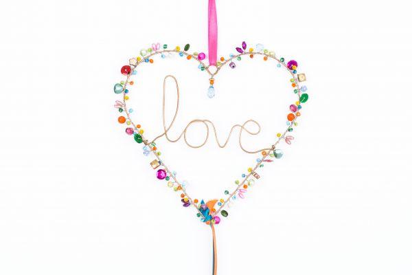 Anhänger mit Perlen, Herz Love
