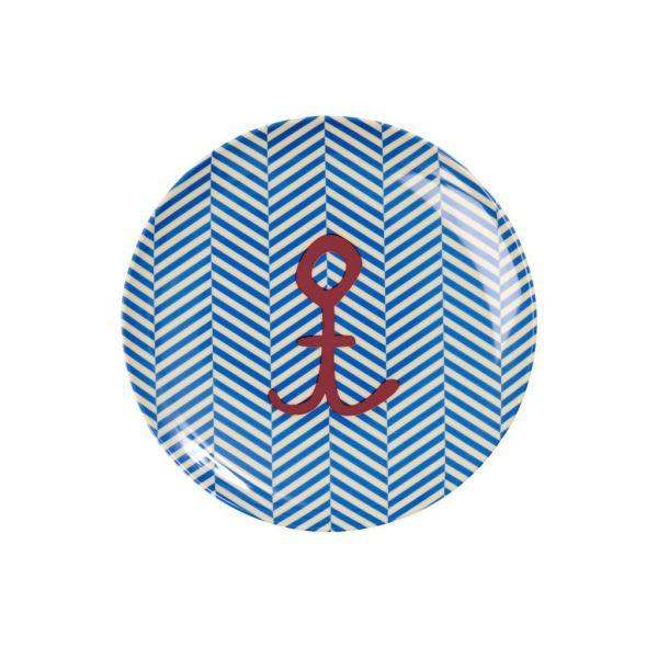 Teller mit Anker klein, blau/weiß