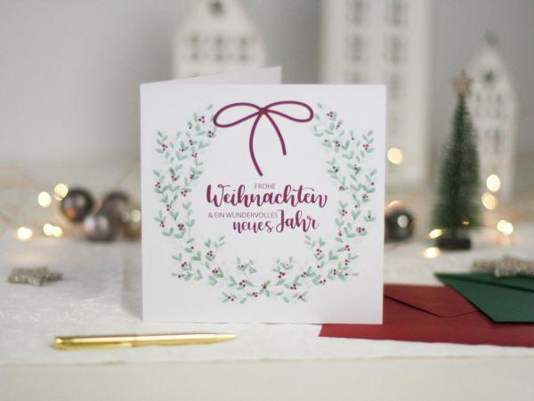 """Postkarte """"Frohe Weihnachten"""" mit Kranz, Klappkarte & Umschlag"""