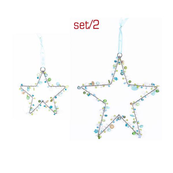 Anhänger mit Perlen Sterne Arktic, 2er Set