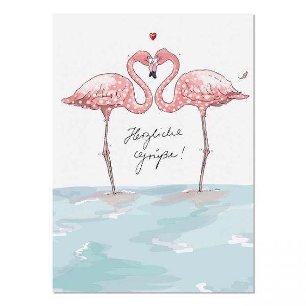 krima&isa Postkarte Herzliche Grüße - Flamingos