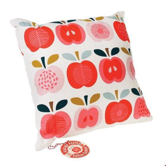 "Kissenhülle mit Kissen ""Vintage Apple"", rot/rosa"