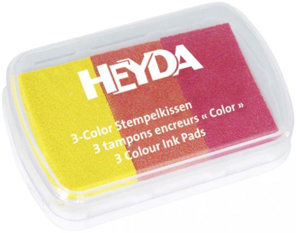 """3-Color-Stempelkissen """"Gelb/Rottöne"""" Heyda"""