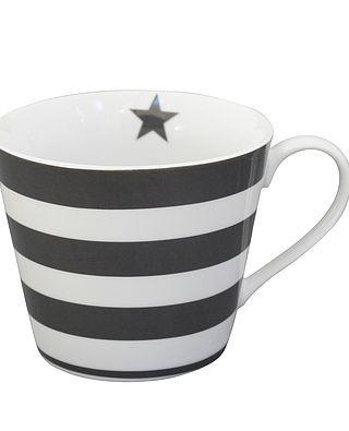 Tasse mit Henkeln und Streifen, dunkelgrau