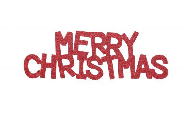 Overbeck and Friends Glitzer Schriftzug Merry Christmas rot