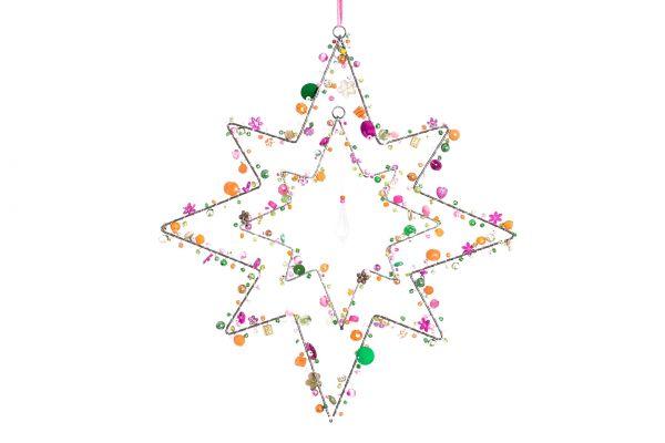 Stern mit Perlen, Scarlet, achtzackig