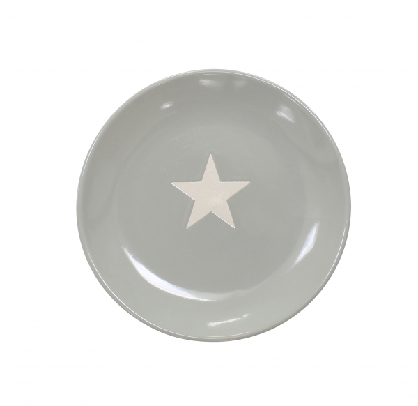 Teller mit Stern, in hellgrau/weiß (klein)