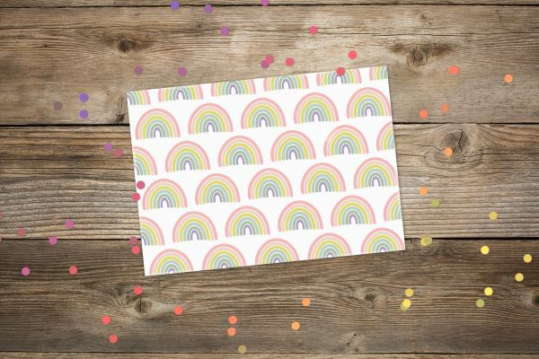 Postkarte Regenbogen pastell