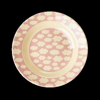 Tiefer Teller mit Wolken, rosa