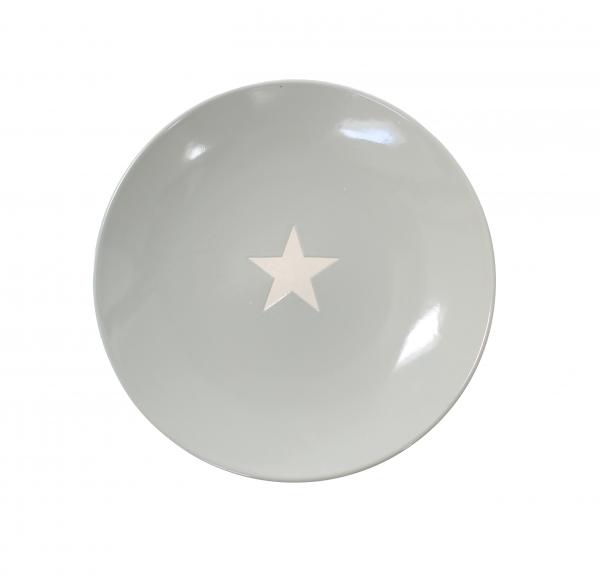 Teller mit Stern, in hellgrau/weiß (groß)