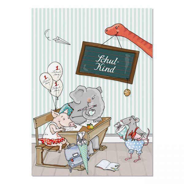 krima&isa Postkarte Schulbank - Schulkind