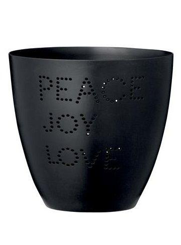 "Bloomingville Windlicht schwarz, Schriftzug ""PEACE JOY LOVE"""