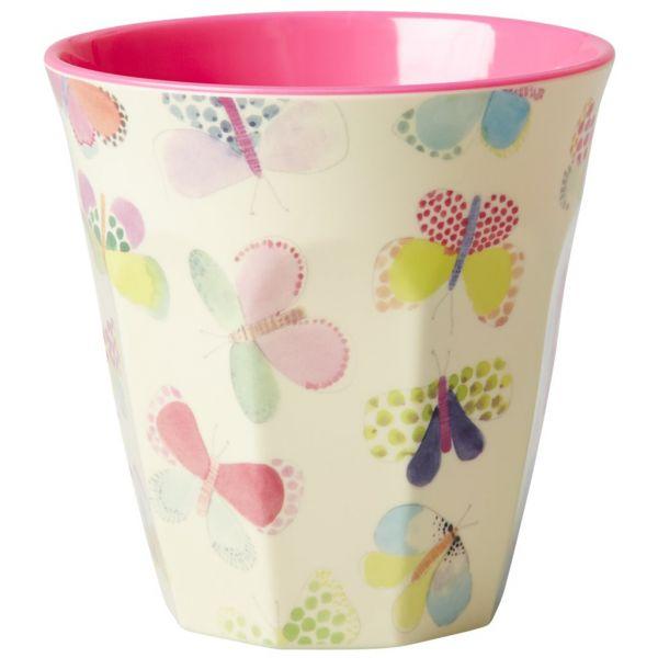 Becher mit Schmetterlingen, innen Pink