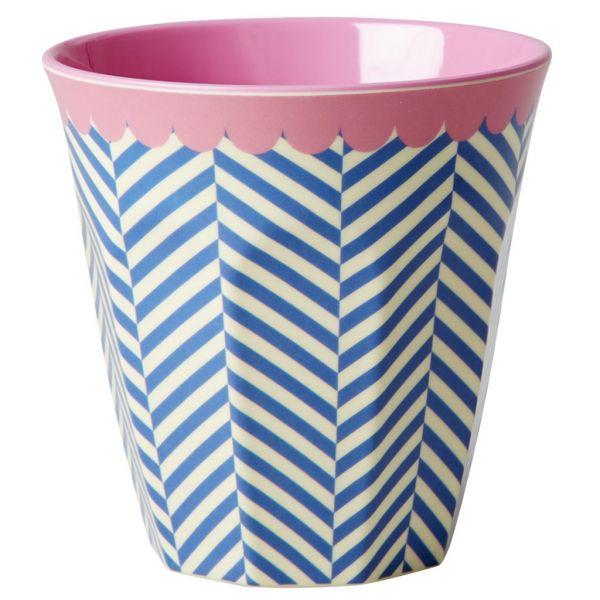 """Becher mit Streifen blau/weiß und rosa Rand """"sailor stripe"""""""