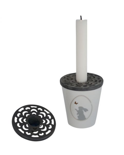 Deckel für Tasse mit Kerzenhalter, Zink