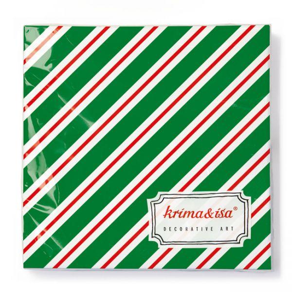 """krima&isa Servietten """"Weihnachtsstreifen"""" grün-rot-weiß gestreift"""